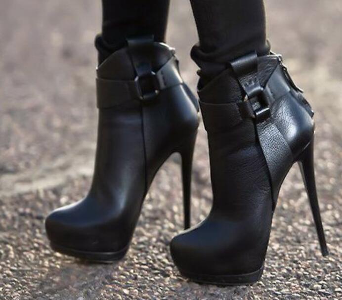 Womens Combat Sz35-43 Sexy Platform Ankle Boots Stilettos High Heel shoes Sz35-4