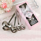 One Set of Four Heart Shaped Silver Measuring Spoons Wedding Favors LOVE Mirable