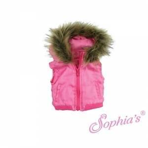 "Hot Pink Vest with Fur Trim Puffer Hoodie jacket fit 18"" American Girl Doll"