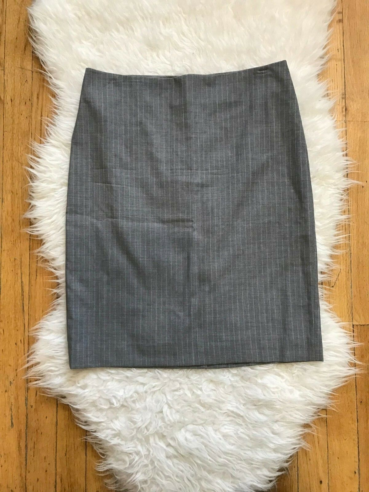 165 THEORY FRIEDA C ESSEX 100% WOOL KNEE LENGTH PENCIL SKIRTGREY PINSTRIPE6