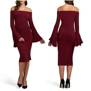 bc78487ea3df ECI Wine Red Off Shoulder Flare Bell Sleeve Shift Midi Dress NEW ...