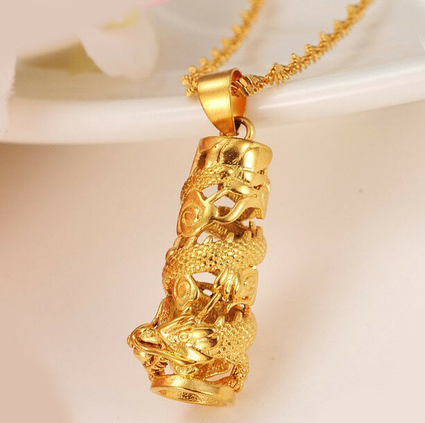 """GiftPkg D545 24k Yellow Gold Dragon Tower Pendant /& Chain Link 30/"""" Necklace"""