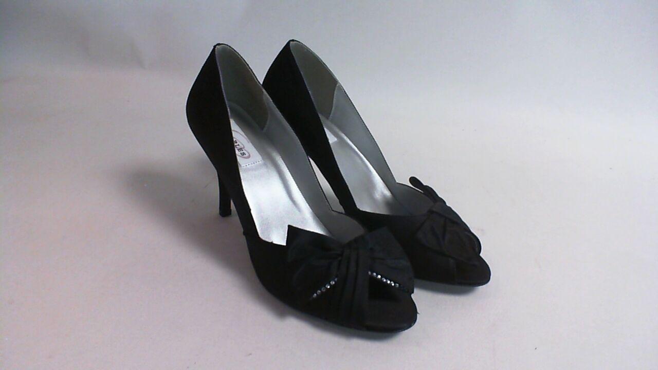 New Dyeables Evening Peep Toe Shoes - Dyed Black Satin - Liv - US 8B UK 6 #6E216