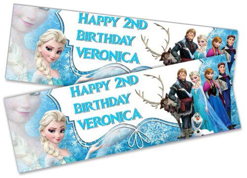 x2 Personalised Birthday Banner Frozen Children Kids Party Decoration Poster 16