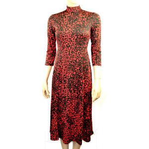 Ex-Debenhams-orange-imprime-leopard-Fit-amp-Flare-Midi-Robe-Taille-8-26
