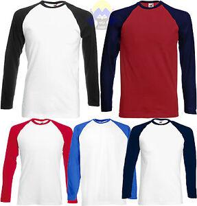 T-shirt-Uomo-Baseball-FRUIT-OF-THE-LOOM-S-M-L-XL-XXL-Maglietta-a-Manica-Lunga