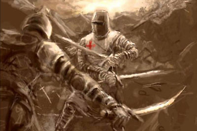 Imagen Arte Gran impresión enmarcado-Caballeros Templarios espada lucha con el enemigo