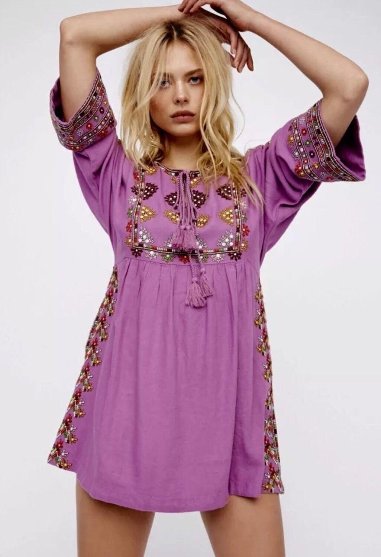 NEW Free People People People Embroidered Babydoll Swing Dress Size XS Purple Tassel Ties 6422c0