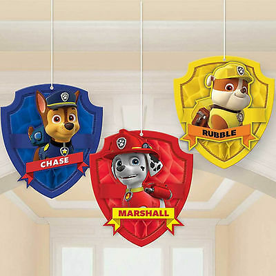 3 Paw Patrol Puppy Pets Children's Birthday Party Hanging Honeycomb Decorations
