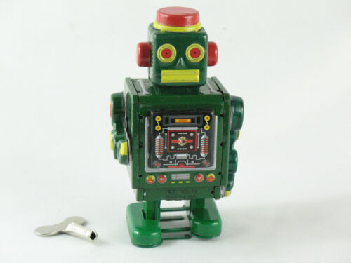 mit Schlüssel Blechspielzeug Roboter mit Uhrwerk bewegt Arme und Beine grün