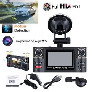 "1080P 2.7"" HD LCD Dual Lens Car Dash Camera DVR Video Cam Recorder Night Vision"