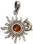thumbnail 1 - Sun Pendant Crescent Moon Genuine Baltic Amber 925 Sterling Silver  # 54