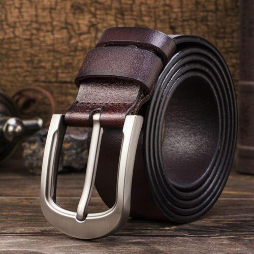 Men/'s Genuine Leather Dress Belt Casual Pin Buckle Waist Strap Belt Waistband