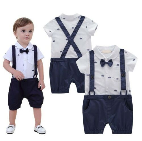 Baby Toddler Boy Wedding Tuxedo Formal Suit Sailor Marine Outfit Clothes Romper