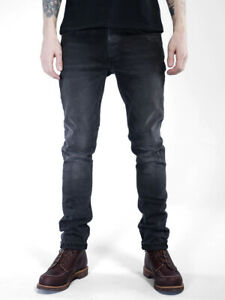 Nudie-Herren-Slim-Fit-Roehren-Stretch-Jeans-Lean-Dean-Black-Changes-W32-L34