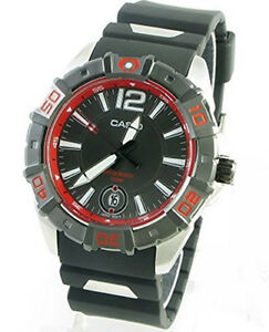 Casio-Men-039-s-Analog-100m-Resin-Stainless-Steel-Black-Red-Watch-MTD-1070-1A2
