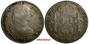 Mexico-SPANISH-COLONY-Charles-IV-Silver-1789-MO-FM-8-Reales-KM-107-Ex-Galler