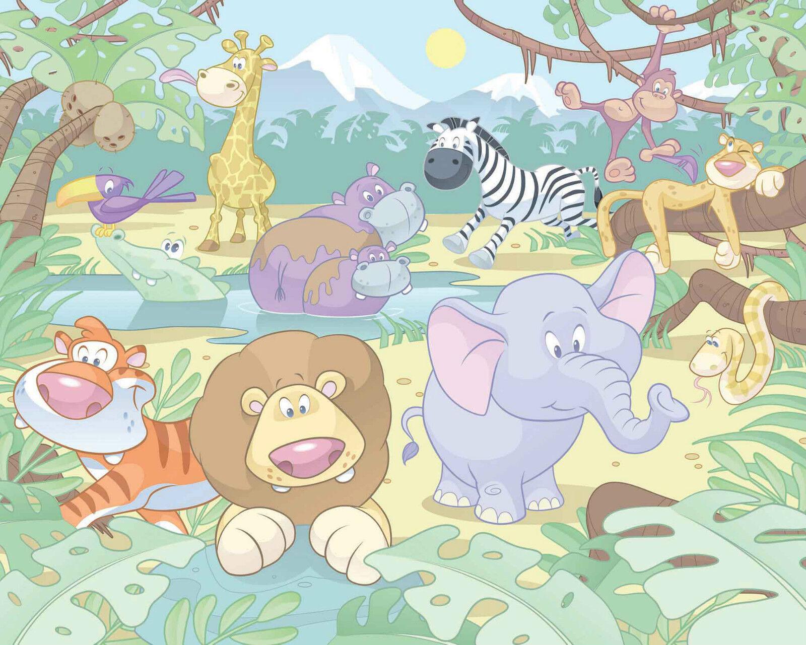 Papier Peint Chambre Enfant Baby Jungle Safari Lion Eléphant Singe Girafe papier peint