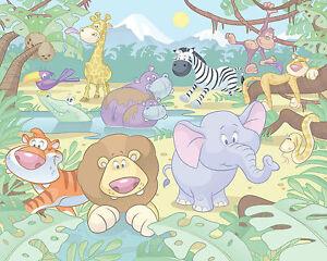 Fototapete kinderzimmer dschungel  Fototapete Kinderzimmer Baby Dschungel Safari Löwe Elefant Affe ...