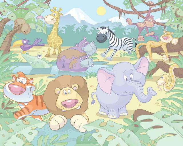 Wandtattoo Wandbild Kinderzimmer Cm244x305 Walltastic Baby Jungle Safari Gunstig Kaufen Ebay