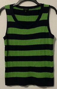 Talbots-Green-Navy-Blue-Rugby-Striped-Cable-Knit-Sleeveless-Sweater-Size-MP