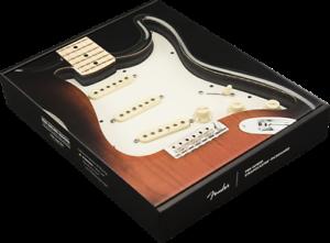 Genuine-Fender-Pre-Wired-Strat-Pickguard-Vintage-Noiseless-SSS-Parchment
