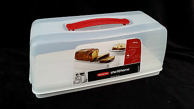NEW rectangle plastic cake box storage clear with white base with lid curver