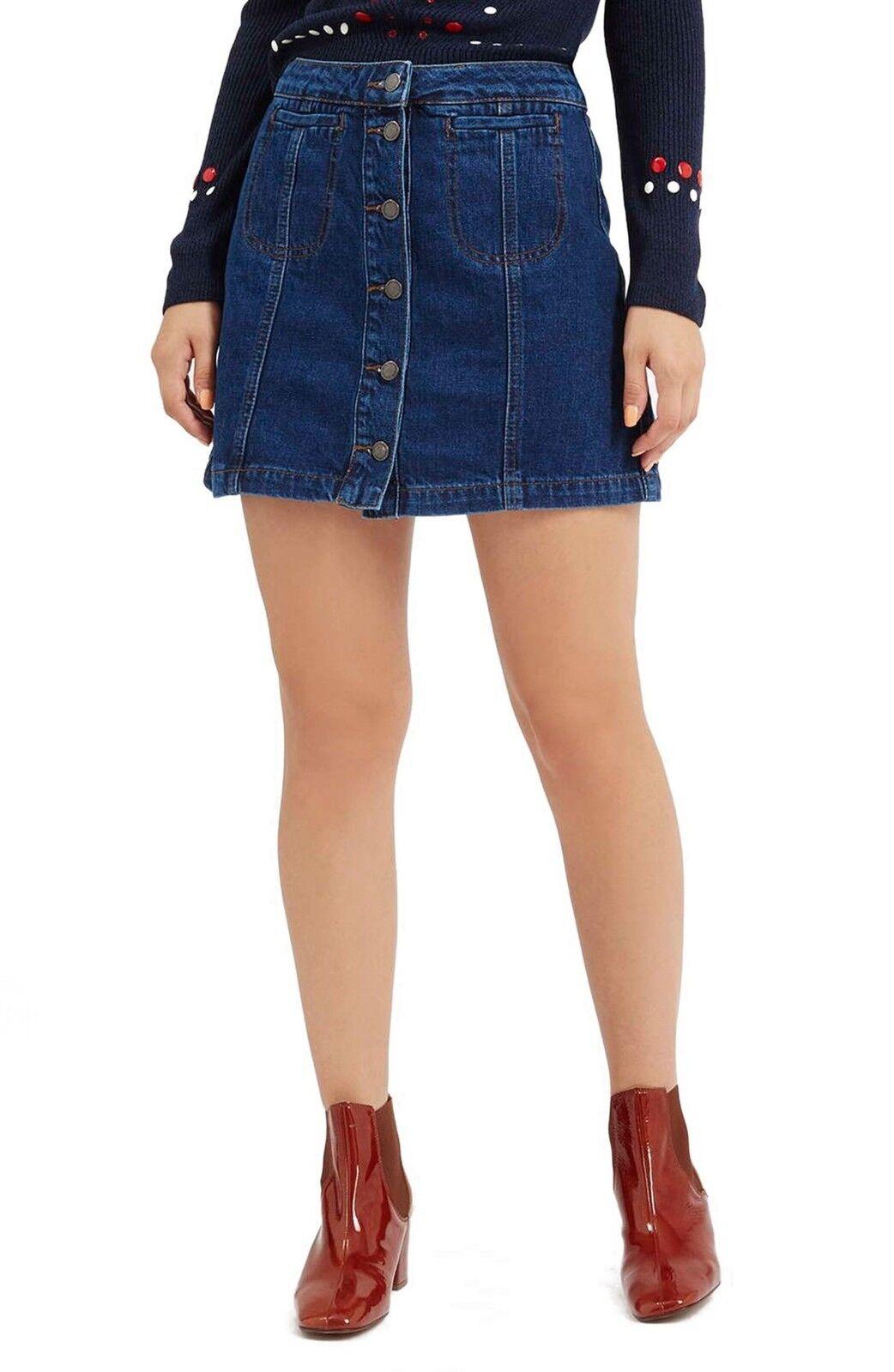 TOPSHOP Button Front Blue Denim Skirt A-Line Cott… - image 1