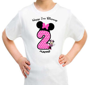Image Is Loading Minnie Mouse Personalised T SHIRT Girls Kids Happy