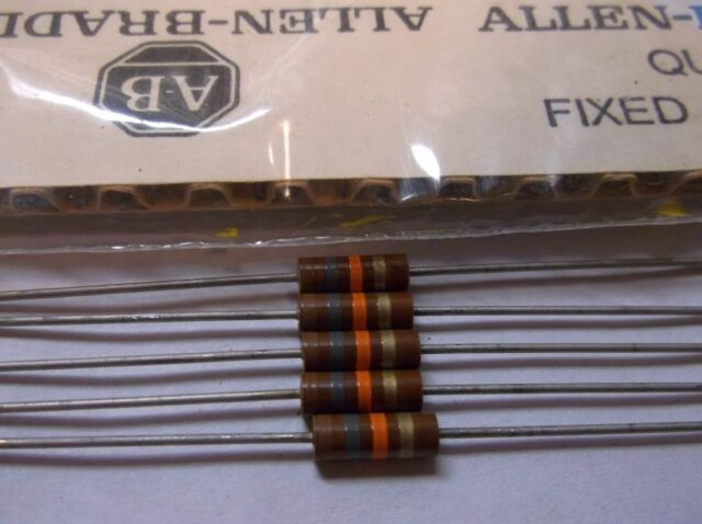 5 Allen Bradley Carbon Comp Resistors 18k 1/2 Watt EB1835 RC20GF183J 5%