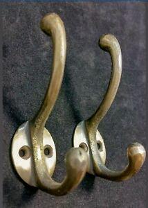 Solid Brass Coat Hooks, reclaimed pair