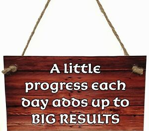 Wall//Door MDF Plaque A LITTLE PROGRESS BIG RESULTS POSITIVE THOUGHTS