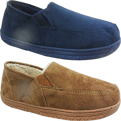 NEW MENS GENTS FLEECE LINED ULTRA LIGHT GUSSET HARD SOLE LOAFER SLIPPERS  SIZE