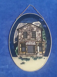 Coca-Cola-6-1-2-034-x-9-034-Vintage-Glass-Stained-Window-Picture-Coke