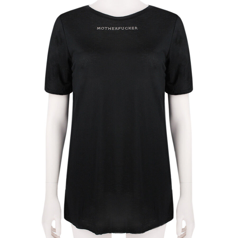 Thomas Wylde schwarz Motherfr Crystal Detailed Boyfriend Fit T-Shirt Top S UK8