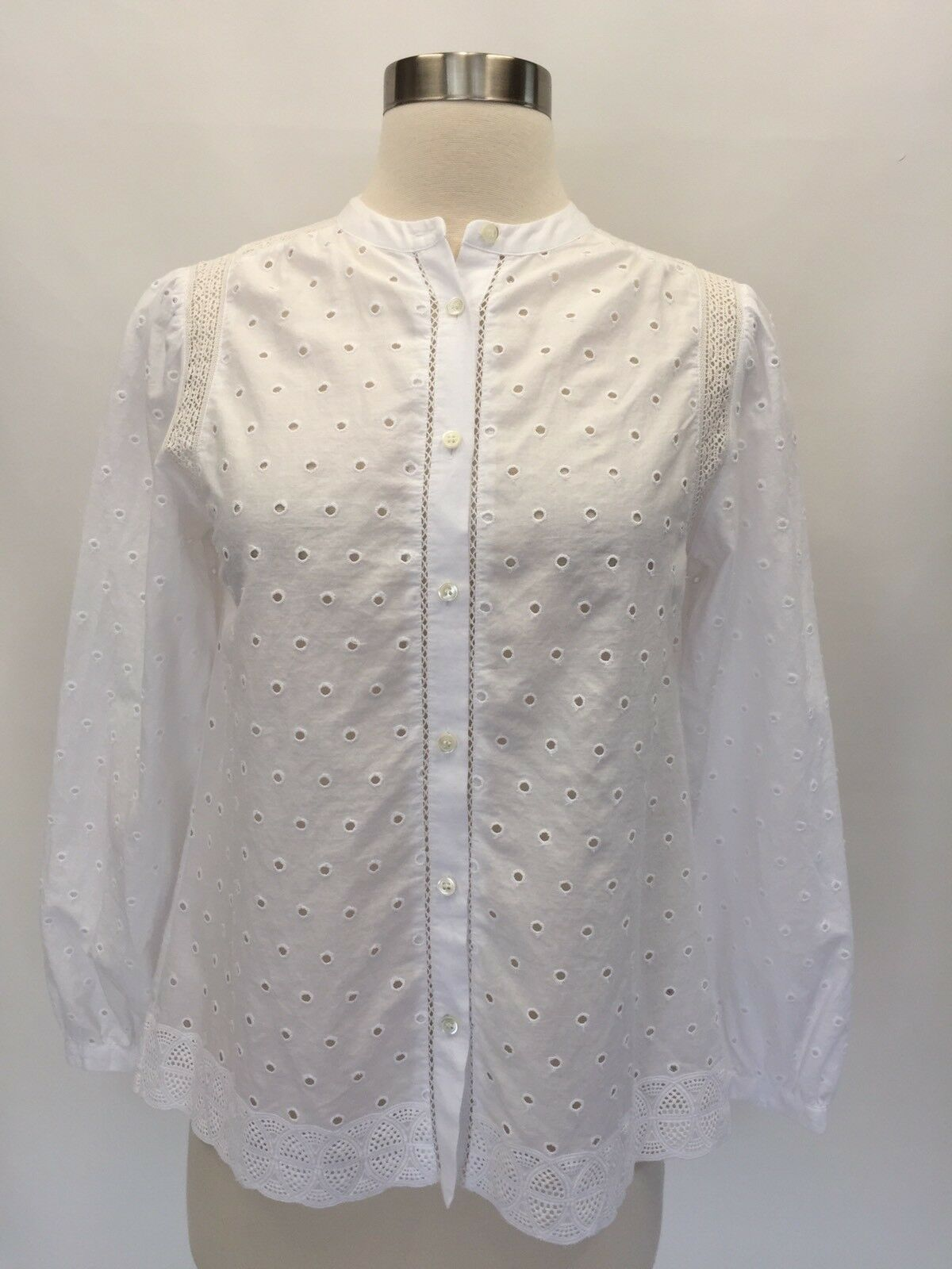 J Crew Eyelet Button-up Shirt Top Blouse Weiß Sz 00 G1150 Sold Out