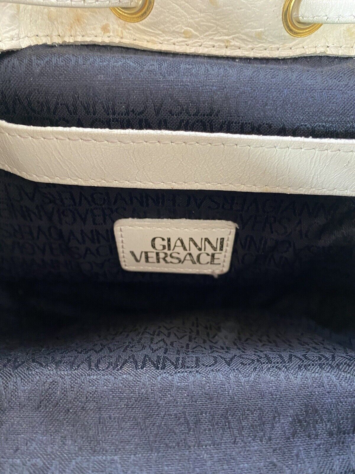 RARE VTG GIANNI VERSACE 90S WHITE OSTRICH BACKPACK - image 11