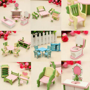 Miniature-Wooden-Furniture-Dolls-House-Kitchen-4-Room-Set-Children-Kids-Toys