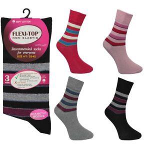 Gentle Grip Diabetic Non Elastic Womens Soft Cotton Socks Ladies Color Pack Of 3