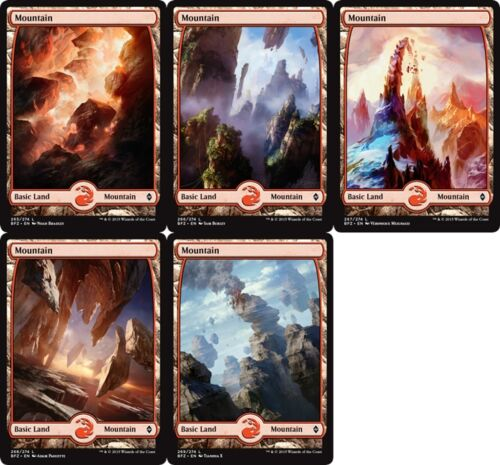 L Mountain FULL ART set of 5 Battle for Zendikar MTG Magic - NM//M