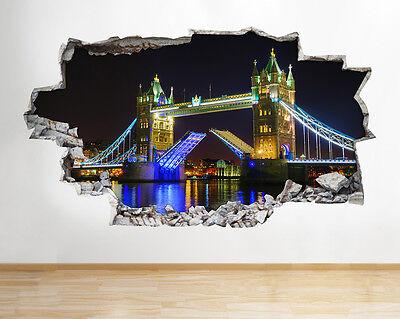 Wall Stickers London City Big Ben Bridge Fireworks Decal Poster 3D Art Viny B136