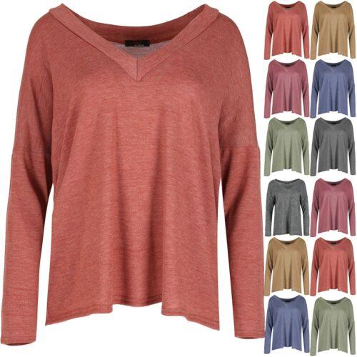 NUOVO Donna Collo V BELLE Knit Lagenlook layer Baggy Sovradimensionato Maglione Top