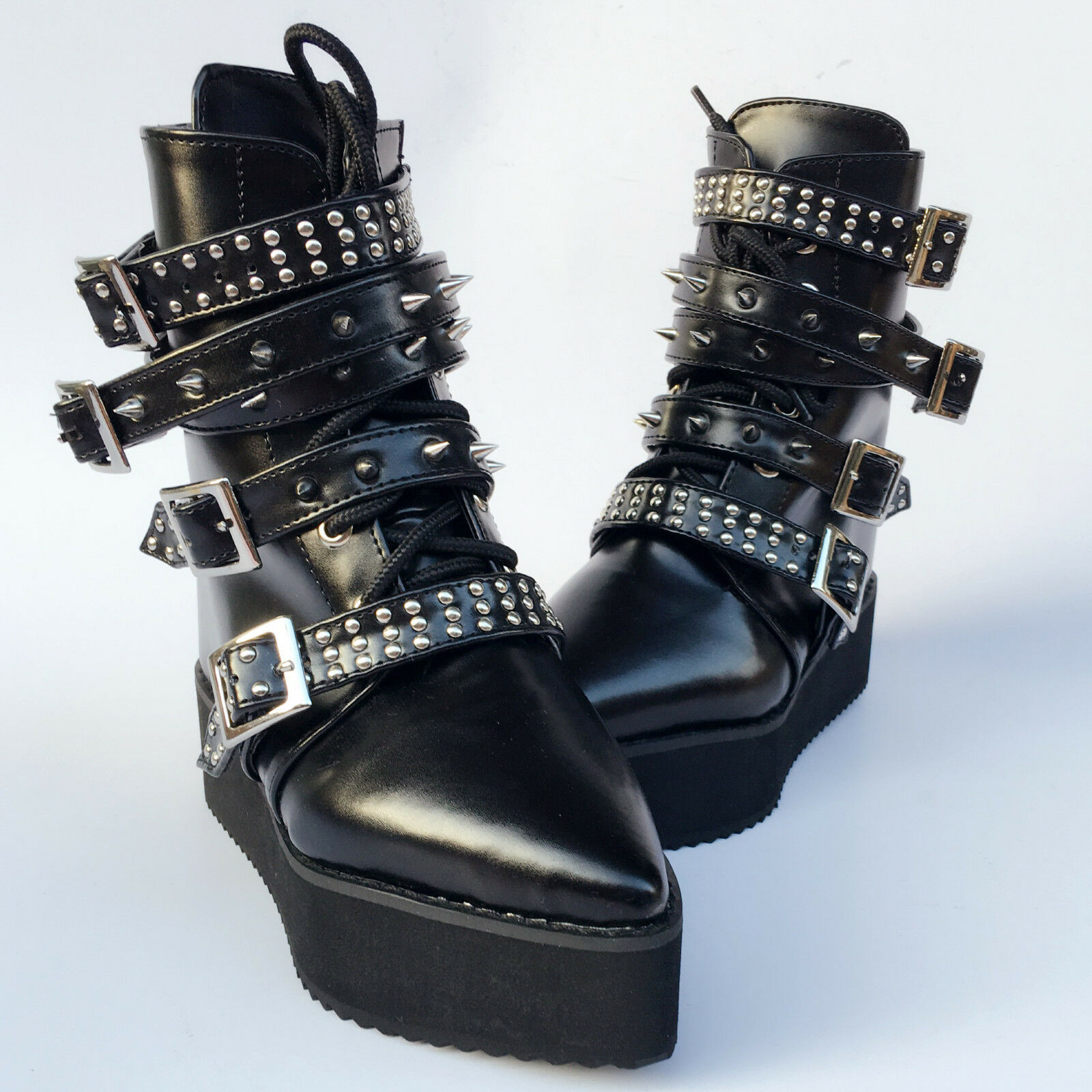 Lolita Punk Gothic Cosplay Pointy Bandage Rivet Ankle Stiefel Schuhes 6084n-4