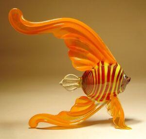 Blown Glass Figurine Exotic Orange Angelfish with Red & Yellow Striped Body FISH