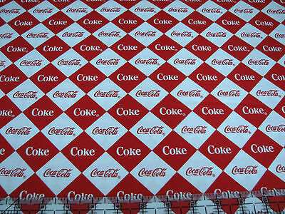 1 Yard Quilt Cotton Fabric - Sykel Coca Cola Coke Diamonds Red and White
