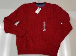 Nautica-Mens-Cotton-Cable-Knit-Crew-Neck-Sweater-Solid-RED-Size-LARGE