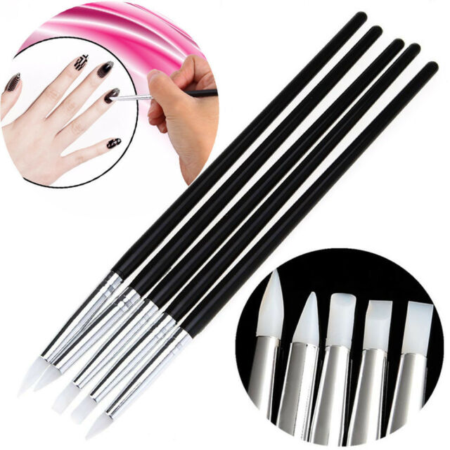 5PCS Silicone Nail Art Design Stamp Pen Brush UV Gel Carving Craft Pencil DIY