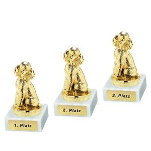 3 Hunde-Pokale (Pudel) mit 1.2.und 3.Platz oder Wunschgravur (P0493)