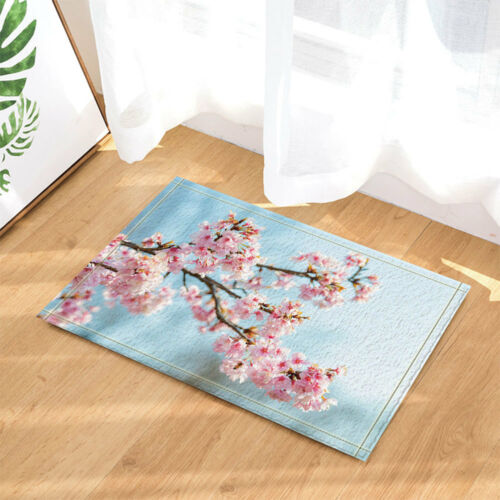 3D Pink Cherry Blossom decor bleu imperméable rideau de douche rugs tapis Set/&12 Crochet