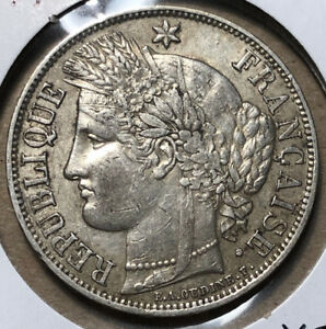 1870-A-France-5-Francs-Paris-Mint-Silver-Coin-XF-Condition